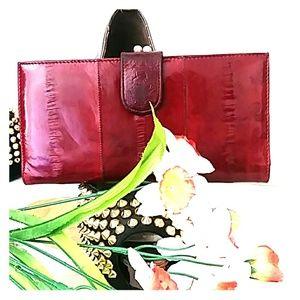 🐡Genuine Eel Skin Clutch Wallet Dark Red